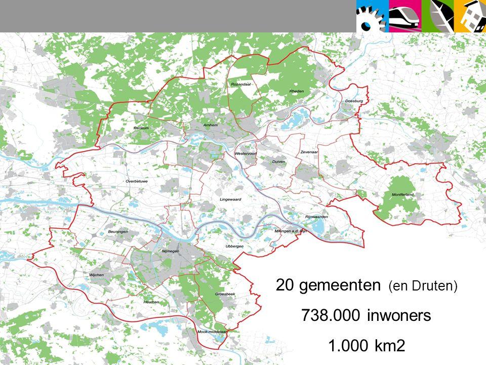 20 gemeenten (en Druten) 738.000 inwoners 1.000 km2