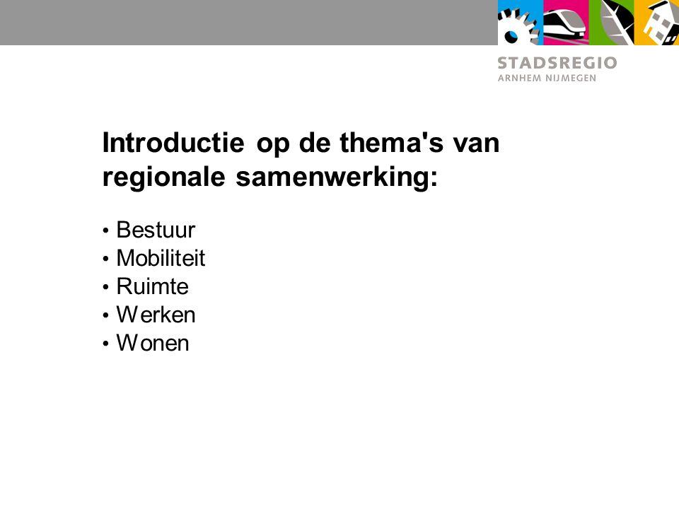 Introductie op de thema's van regionale samenwerking: Bestuur Mobiliteit Ruimte Werken Wonen