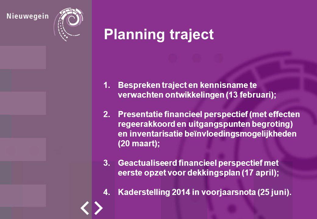 Planning traject 1.Bespreken traject en kennisname te verwachten ontwikkelingen (13 februari); 2.Presentatie financieel perspectief (met effecten regeerakkoord en uitgangspunten begroting) en inventarisatie beïnvloedingsmogelijkheden (20 maart); 3.Geactualiseerd financieel perspectief met eerste opzet voor dekkingsplan (17 april); 4.Kaderstelling 2014 in voorjaarsnota (25 juni).