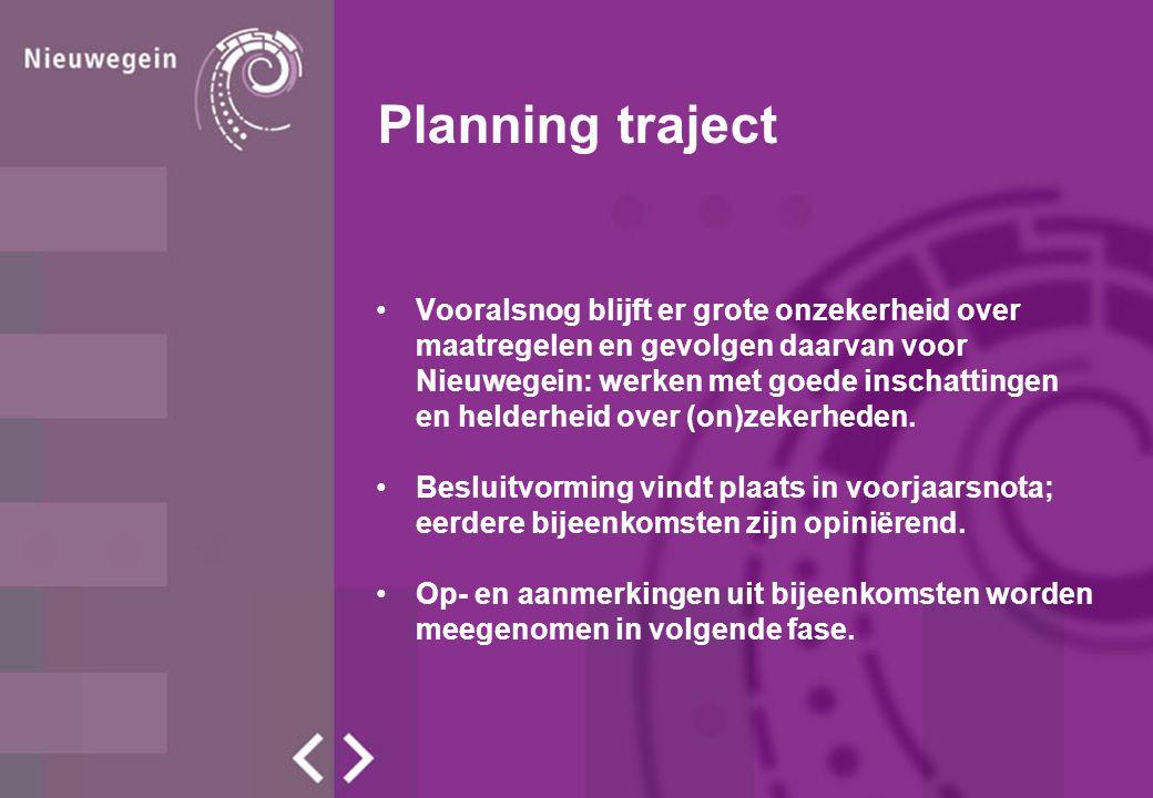 Planning traject Vooralsnog blijft er grote onzekerheid over maatregelen en gevolgen daarvan voor Nieuwegein: werken met goede inschattingen en helderheid over (on)zekerheden.