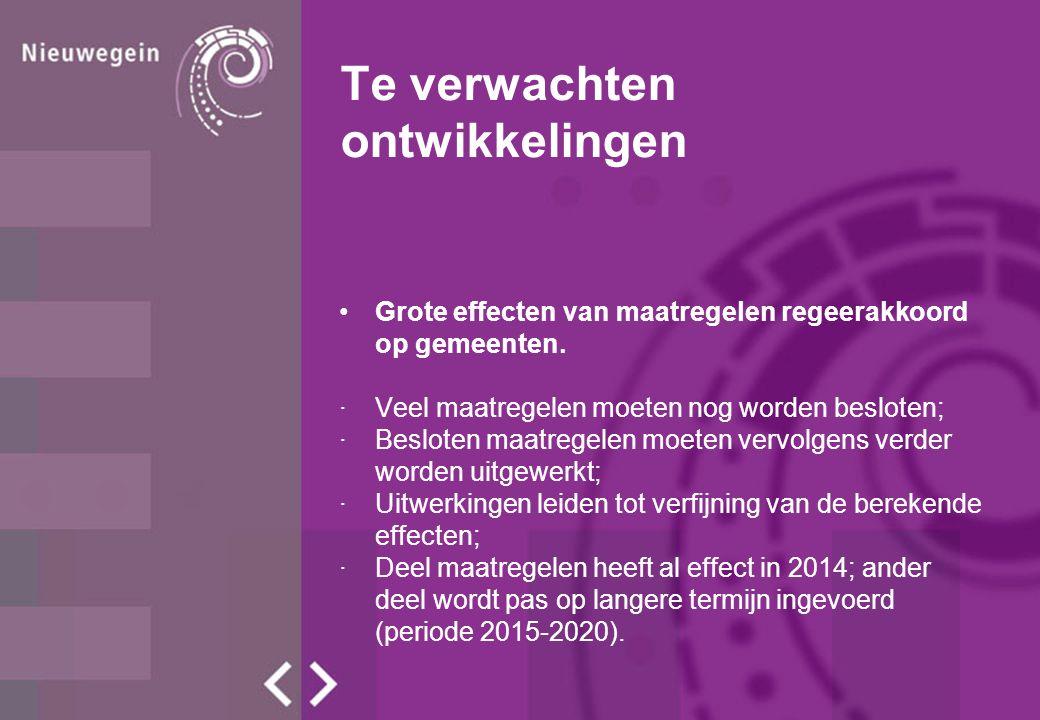 Te verwachten ontwikkelingen Verschillende soorten maatregelen: ·Directe ingrepen in hoogte algemene uitkering.