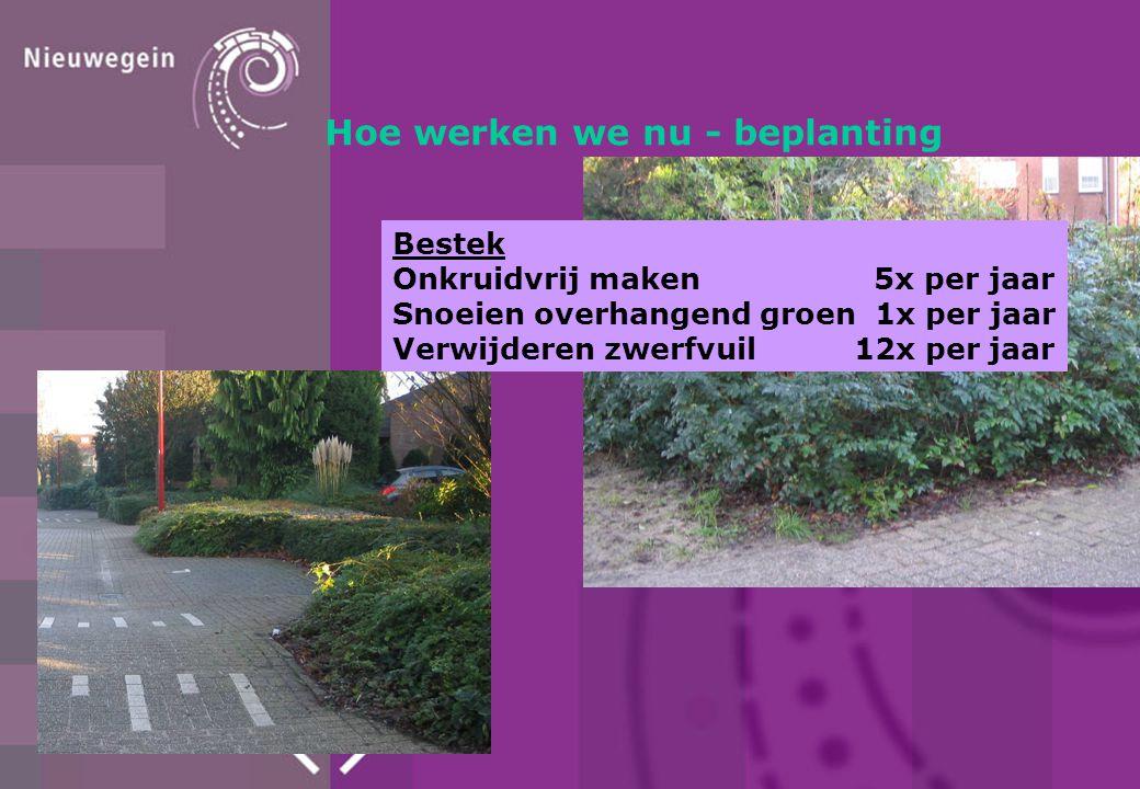 Hoe werken we nu - beplanting Bestek Onkruidvrij maken 5x per jaar Snoeien overhangend groen 1x per jaar Verwijderen zwerfvuil 12x per jaar