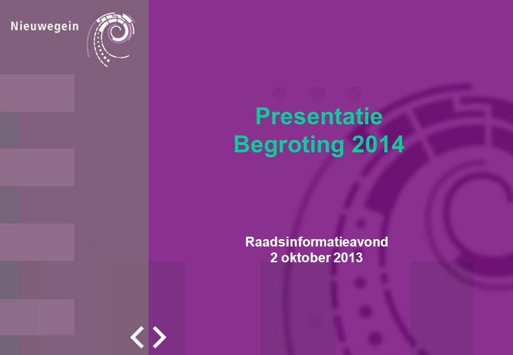 Presentatie Begroting 2014 Raadsinformatieavond 2 oktober 2013