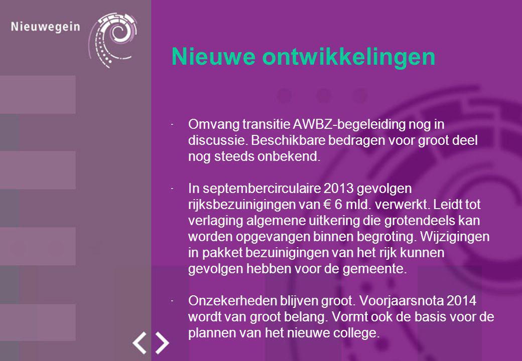 Nieuwe ontwikkelingen ·Omvang transitie AWBZ-begeleiding nog in discussie.