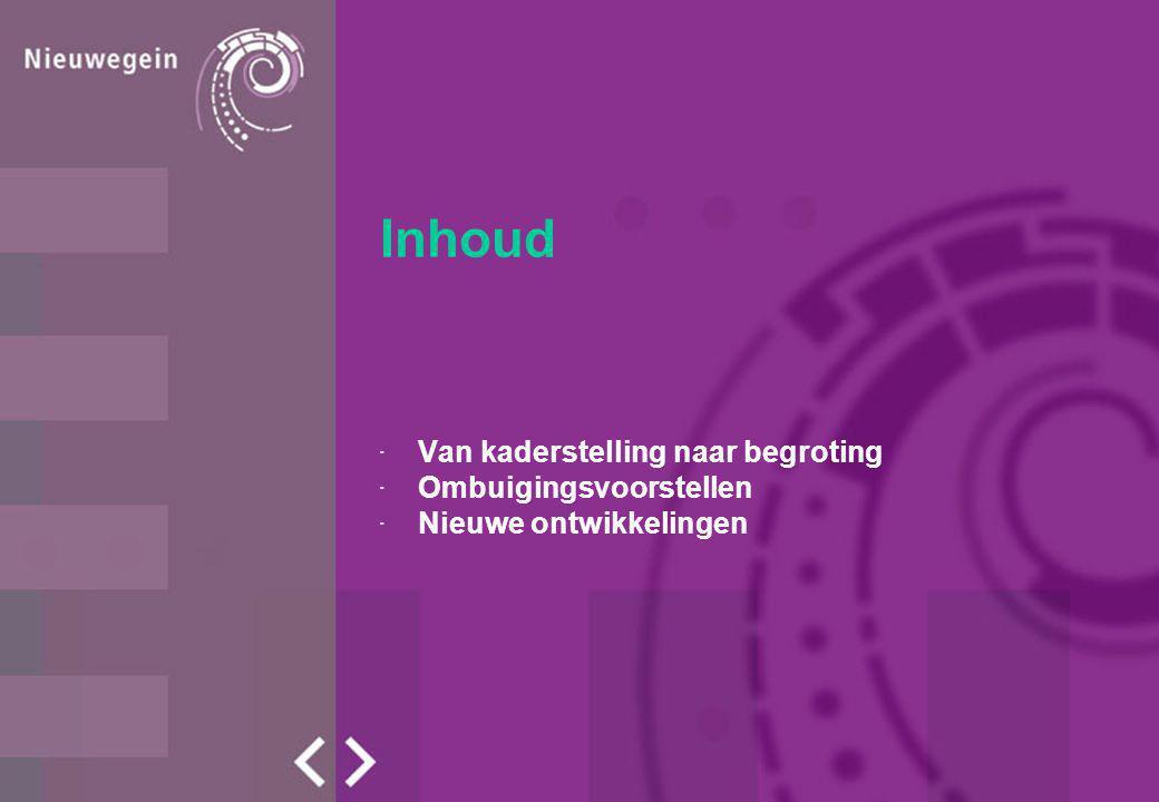 Inhoud ·Van kaderstelling naar begroting ·Ombuigingsvoorstellen ·Nieuwe ontwikkelingen