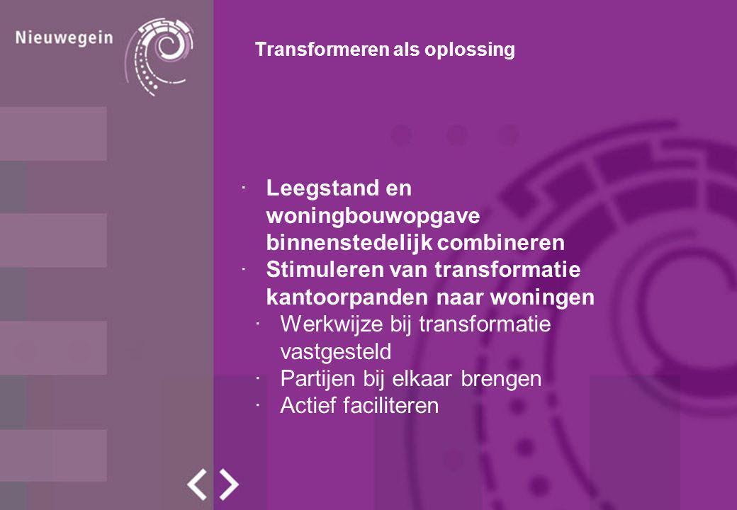 Transformeren als oplossing ·Leegstand en woningbouwopgave binnenstedelijk combineren ·Stimuleren van transformatie kantoorpanden naar woningen ·Werkwijze bij transformatie vastgesteld ·Partijen bij elkaar brengen ·Actief faciliteren