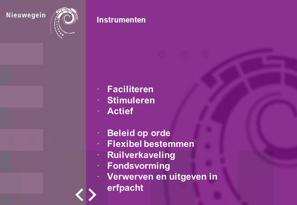 Instrumenten ·Faciliteren ·Stimuleren ·Actief ·Beleid op orde ·Flexibel bestemmen ·Ruilverkaveling ·Fondsvorming ·Verwerven en uitgeven in erfpacht