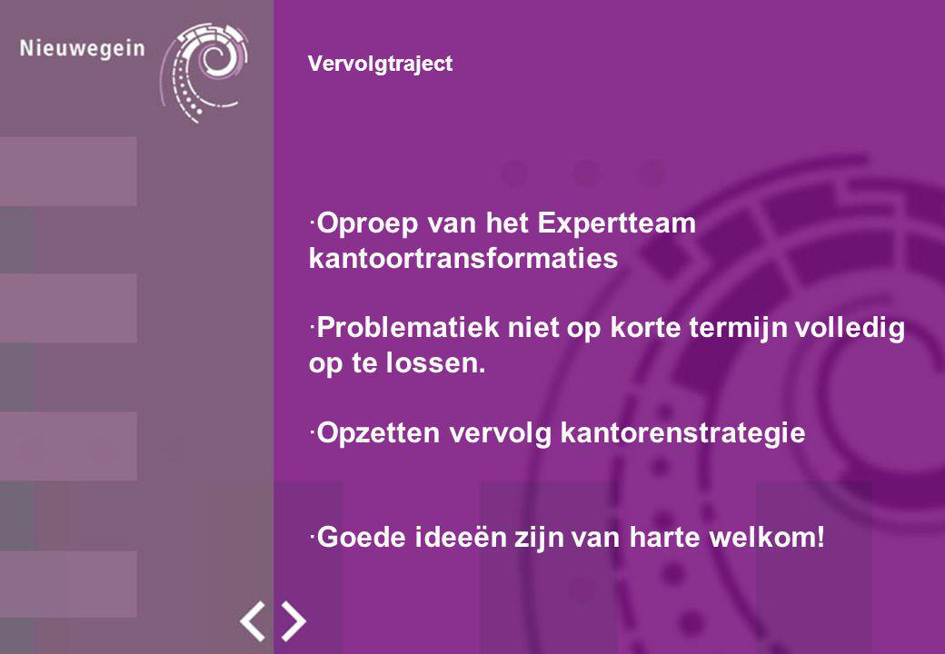 Vervolgtraject ·Oproep van het Expertteam kantoortransformaties ·Problematiek niet op korte termijn volledig op te lossen.