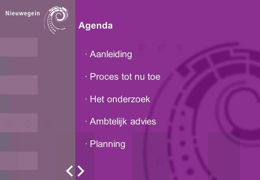 Agenda · Aanleiding · Proces tot nu toe · Het onderzoek · Ambtelijk advies · Planning