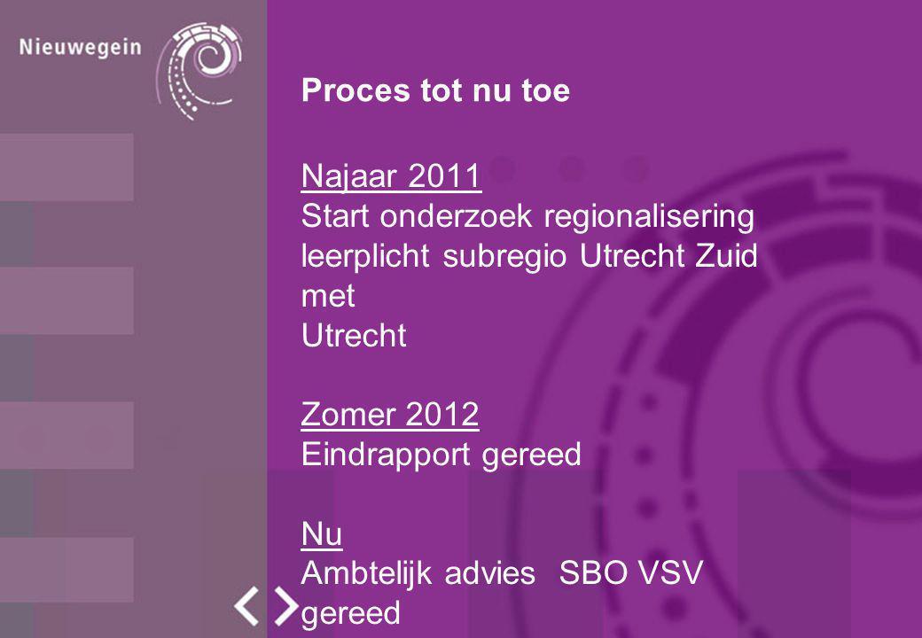 Proces tot nu toe Najaar 2011 Start onderzoek regionalisering leerplicht subregio Utrecht Zuid met Utrecht Zomer 2012 Eindrapport gereed Nu Ambtelijk