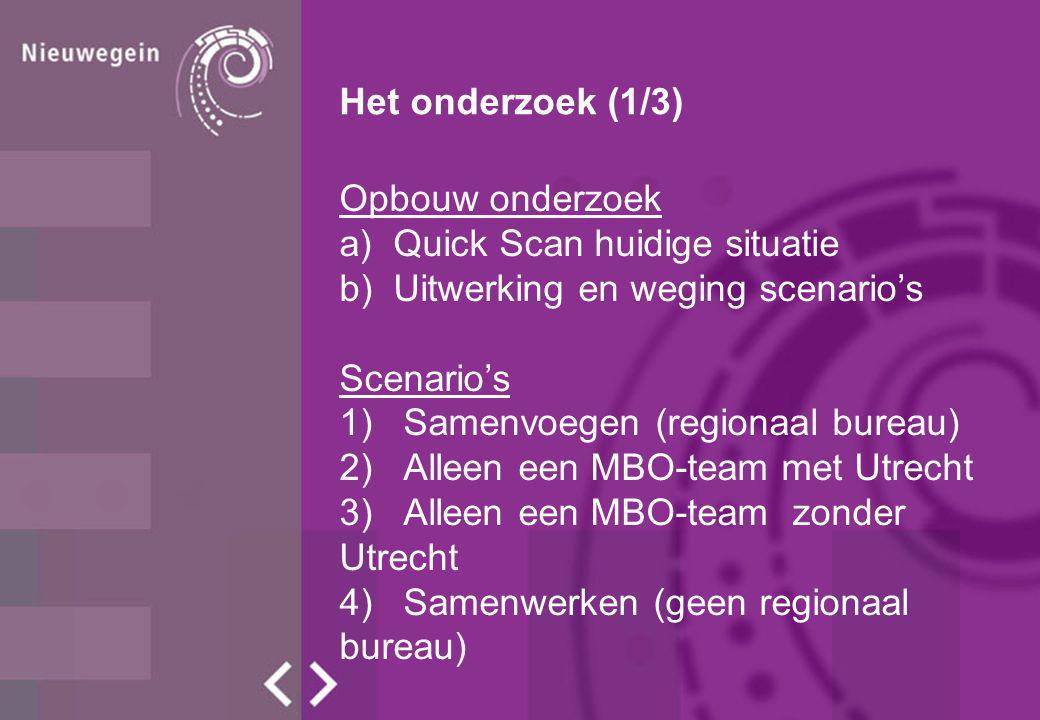 Het onderzoek (1/3) Opbouw onderzoek a)Quick Scan huidige situatie b)Uitwerking en weging scenario's Scenario's 1) Samenvoegen (regionaal bureau) 2) A