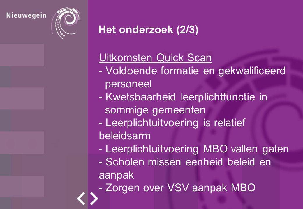 Het onderzoek (3/3) Conclusie en advies KBA Scenario 1 Een regionaal bureau leerplicht RMC Utrecht Zuid biedt de beste voorwaarden voor succes.