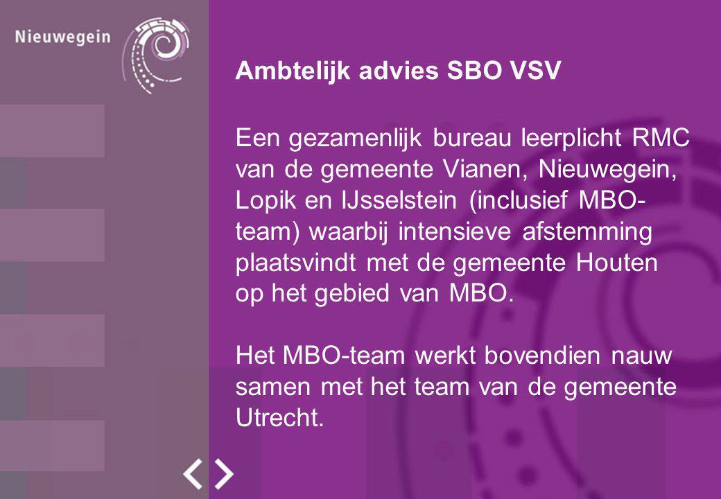 Ambtelijk advies SBO VSV Een gezamenlijk bureau leerplicht RMC van de gemeente Vianen, Nieuwegein, Lopik en IJsselstein (inclusief MBO- team) waarbij