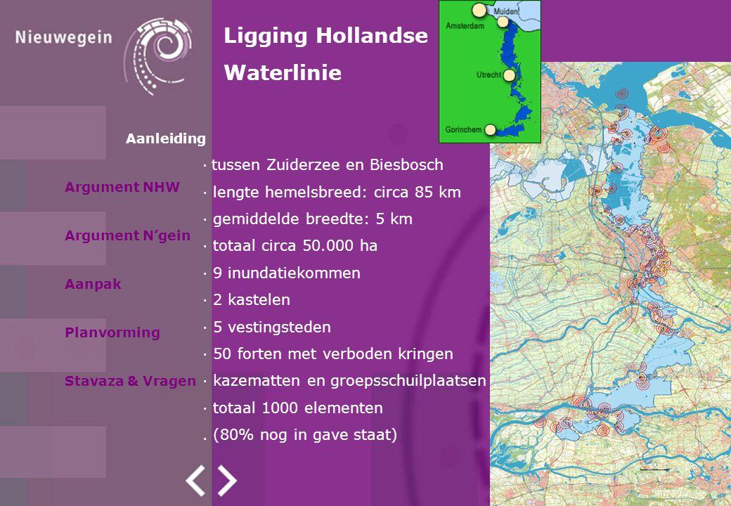 · tussen Zuiderzee en Biesbosch · lengte hemelsbreed: circa 85 km · gemiddelde breedte: 5 km · totaal circa 50.000 ha · 9 inundatiekommen · 2 kastelen · 5 vestingsteden · 50 forten met verboden kringen · kazematten en groepsschuilplaatsen · totaal 1000 elementen.