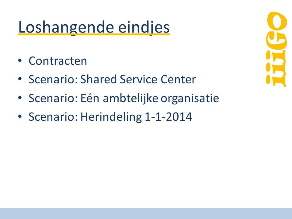 iiiGO Loshangende eindjes Contracten Scenario: Shared Service Center Scenario: Eén ambtelijke organisatie Scenario: Herindeling 1-1-2014