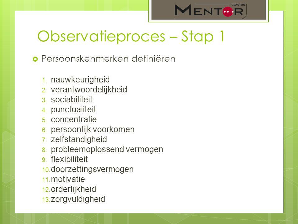 Observatieproces – Stap 1  Persoonskenmerken definiëren 1. nauwkeurigheid 2. verantwoordelijkheid 3. sociabiliteit 4. punctualiteit 5. concentratie 6