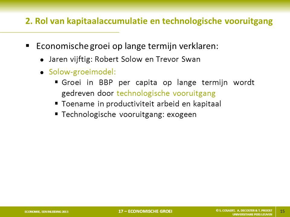 15 ECONOMIE, EEN INLEIDING 2013 17 – ECONOMISCHE GROEI © S. COSAERT, A. DECOSTER & T. PROOST UNIVERSITAIRE PERS LEUVEN 2. Rol van kapitaalaccumulatie
