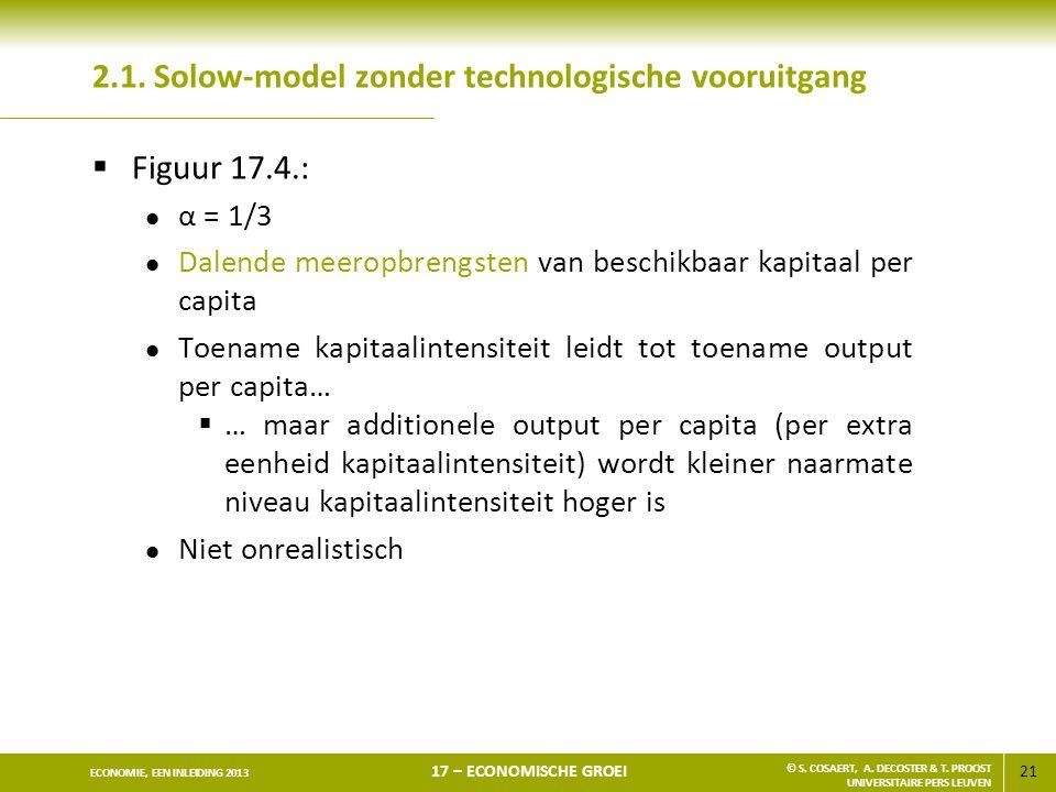 21 ECONOMIE, EEN INLEIDING 2013 17 – ECONOMISCHE GROEI © S. COSAERT, A. DECOSTER & T. PROOST UNIVERSITAIRE PERS LEUVEN 2.1. Solow-model zonder technol