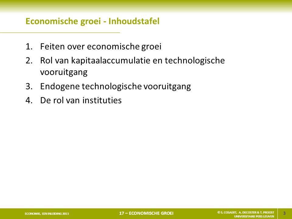 3 ECONOMIE, EEN INLEIDING 2013 17 – ECONOMISCHE GROEI © S. COSAERT, A. DECOSTER & T. PROOST UNIVERSITAIRE PERS LEUVEN Economische groei - Inhoudstafel