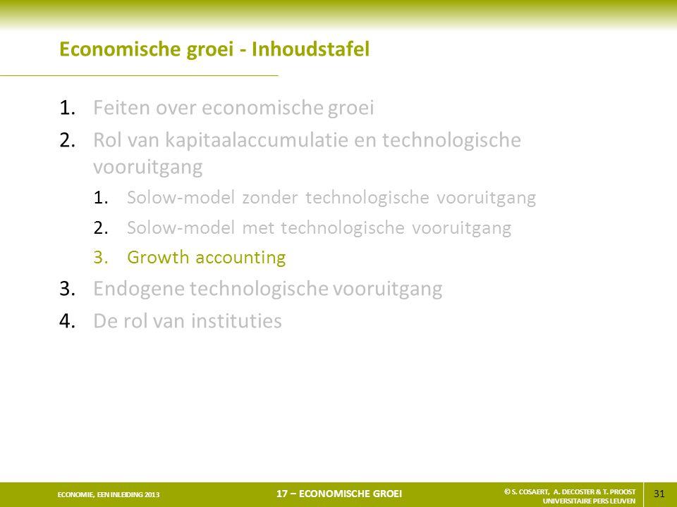 31 ECONOMIE, EEN INLEIDING 2013 17 – ECONOMISCHE GROEI © S. COSAERT, A. DECOSTER & T. PROOST UNIVERSITAIRE PERS LEUVEN Economische groei - Inhoudstafe