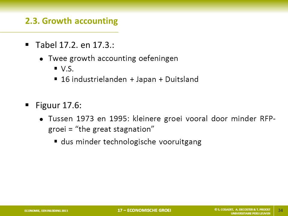 34 ECONOMIE, EEN INLEIDING 2013 17 – ECONOMISCHE GROEI © S. COSAERT, A. DECOSTER & T. PROOST UNIVERSITAIRE PERS LEUVEN 2.3. Growth accounting  Tabel