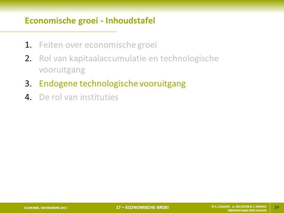 39 ECONOMIE, EEN INLEIDING 2013 17 – ECONOMISCHE GROEI © S. COSAERT, A. DECOSTER & T. PROOST UNIVERSITAIRE PERS LEUVEN Economische groei - Inhoudstafe