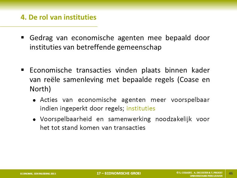 46 ECONOMIE, EEN INLEIDING 2013 17 – ECONOMISCHE GROEI © S. COSAERT, A. DECOSTER & T. PROOST UNIVERSITAIRE PERS LEUVEN 4. De rol van instituties  Ged