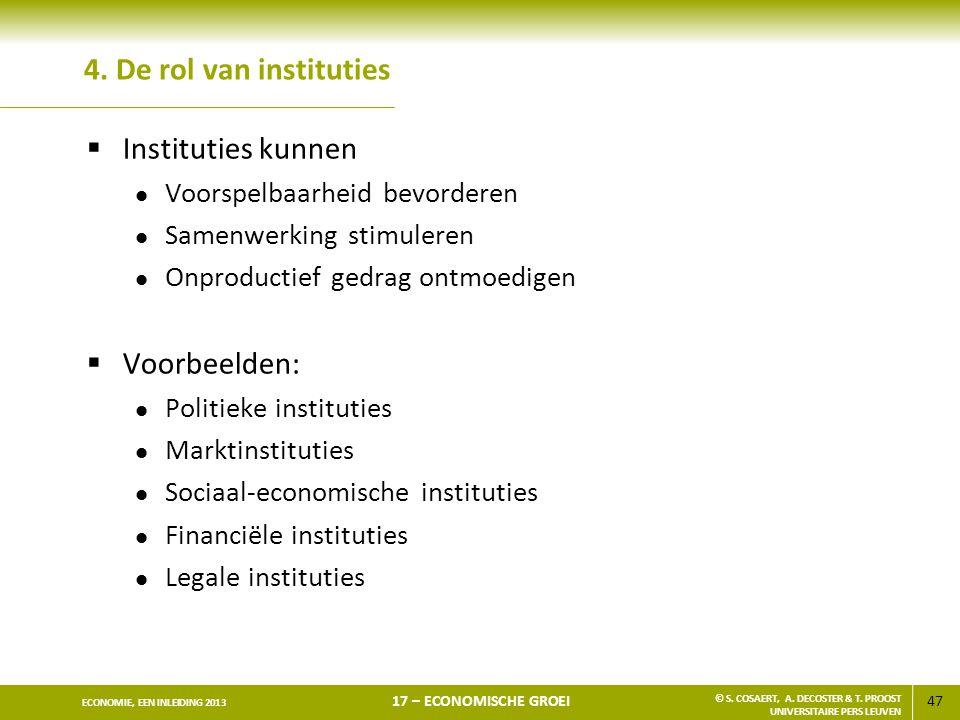 47 ECONOMIE, EEN INLEIDING 2013 17 – ECONOMISCHE GROEI © S. COSAERT, A. DECOSTER & T. PROOST UNIVERSITAIRE PERS LEUVEN 4. De rol van instituties  Ins