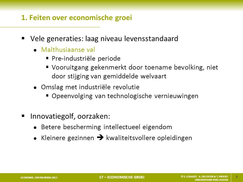7 ECONOMIE, EEN INLEIDING 2013 17 – ECONOMISCHE GROEI © S. COSAERT, A. DECOSTER & T. PROOST UNIVERSITAIRE PERS LEUVEN 1. Feiten over economische groei
