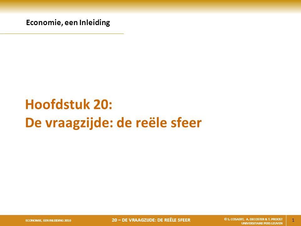 22 ECONOMIE, EEN INLEIDING 2010 20 – DE VRAAGZIJDE: DE REËLE SFEER © S.