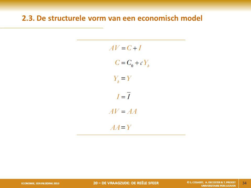 34 ECONOMIE, EEN INLEIDING 2010 20 – DE VRAAGZIJDE: DE REËLE SFEER © S. COSAERT, A. DECOSTER & T. PROOST UNIVERSITAIRE PERS LEUVEN 2.3. De structurele