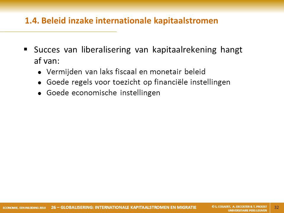32 ECONOMIE, EEN INLEIDING 2010 26 – GLOBALISERING: INTERNATIONALE KAPITAALSTROMEN EN MIGRATIE © S. COSAERT, A. DECOSTER & T. PROOST UNIVERSITAIRE PER