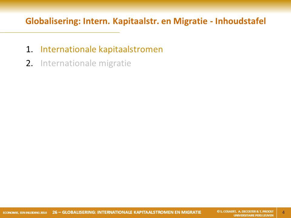 4 ECONOMIE, EEN INLEIDING 2010 26 – GLOBALISERING: INTERNATIONALE KAPITAALSTROMEN EN MIGRATIE © S. COSAERT, A. DECOSTER & T. PROOST UNIVERSITAIRE PERS