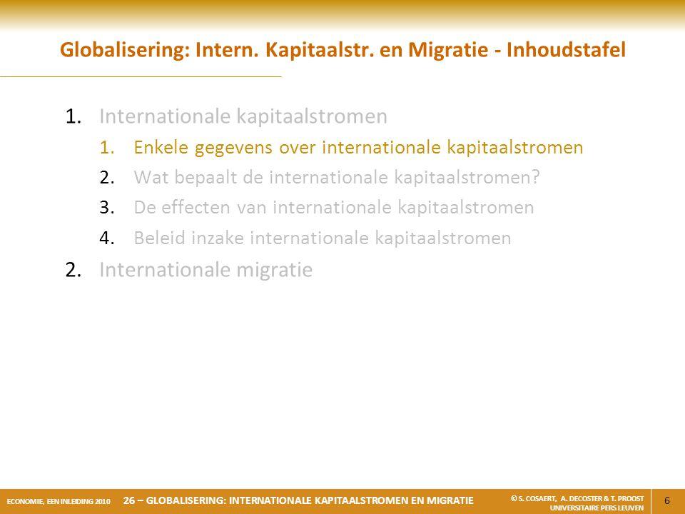 6 ECONOMIE, EEN INLEIDING 2010 26 – GLOBALISERING: INTERNATIONALE KAPITAALSTROMEN EN MIGRATIE © S. COSAERT, A. DECOSTER & T. PROOST UNIVERSITAIRE PERS