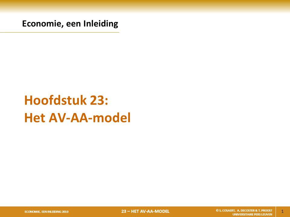 1 ECONOMIE, EEN INLEIDING 2010 23 – HET AV-AA-MODEL © S. COSAERT, A. DECOSTER & T. PROOST UNIVERSITAIRE PERS LEUVEN Hoofdstuk 23: Het AV-AA-model Econ