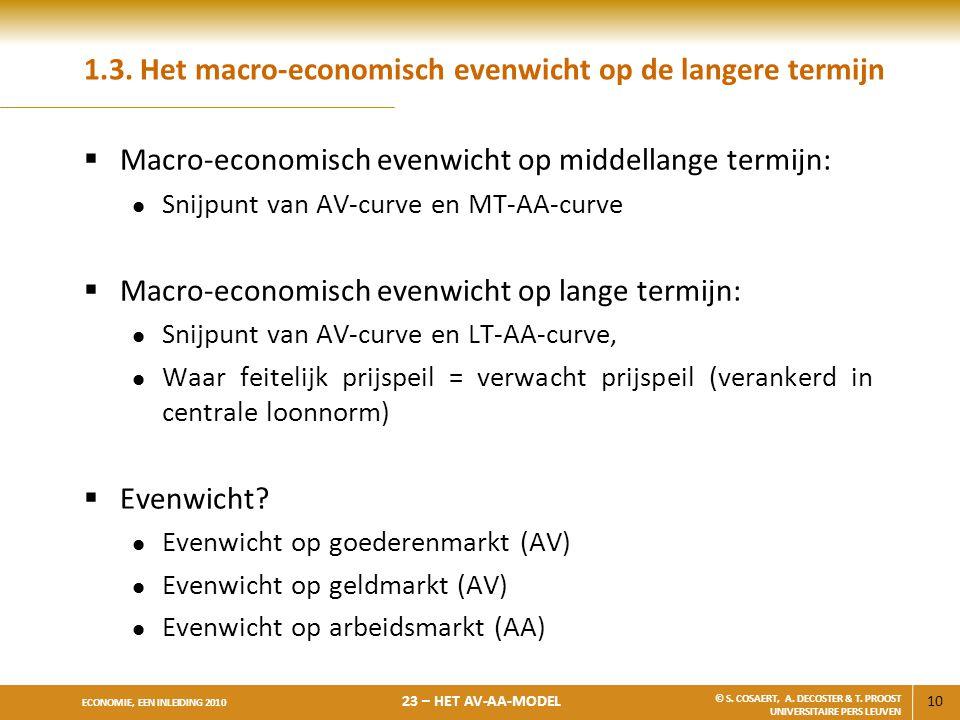 10 ECONOMIE, EEN INLEIDING 2010 23 – HET AV-AA-MODEL © S. COSAERT, A. DECOSTER & T. PROOST UNIVERSITAIRE PERS LEUVEN 1.3. Het macro-economisch evenwic