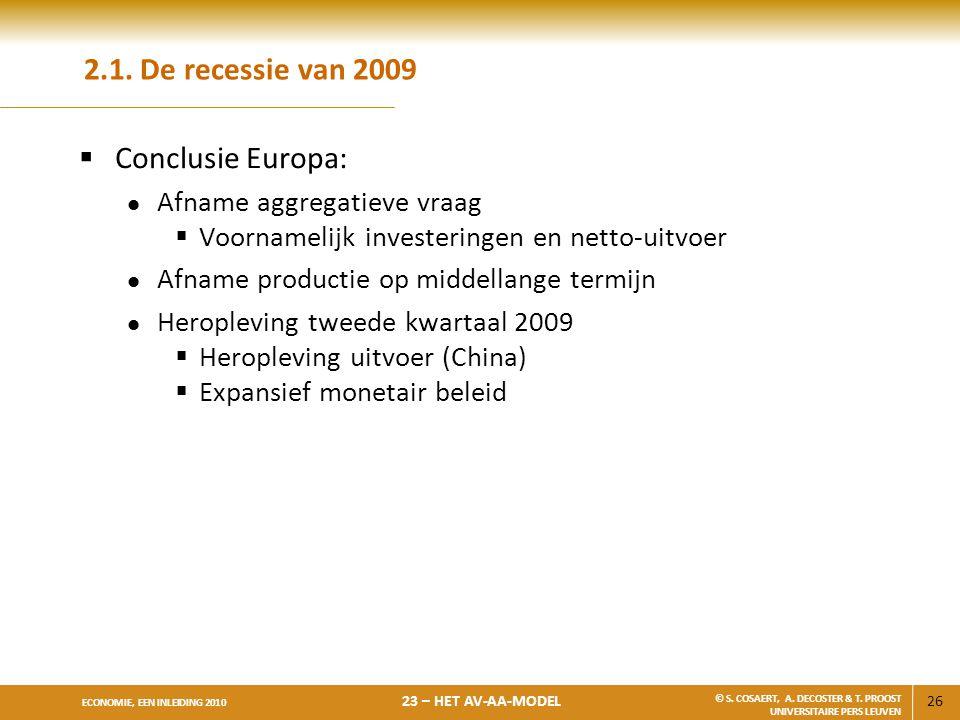 26 ECONOMIE, EEN INLEIDING 2010 23 – HET AV-AA-MODEL © S. COSAERT, A. DECOSTER & T. PROOST UNIVERSITAIRE PERS LEUVEN 2.1. De recessie van 2009  Concl