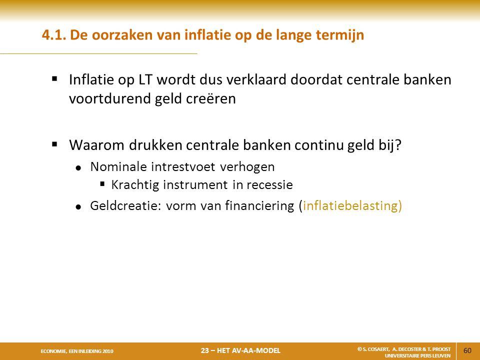 60 ECONOMIE, EEN INLEIDING 2010 23 – HET AV-AA-MODEL © S. COSAERT, A. DECOSTER & T. PROOST UNIVERSITAIRE PERS LEUVEN 4.1. De oorzaken van inflatie op