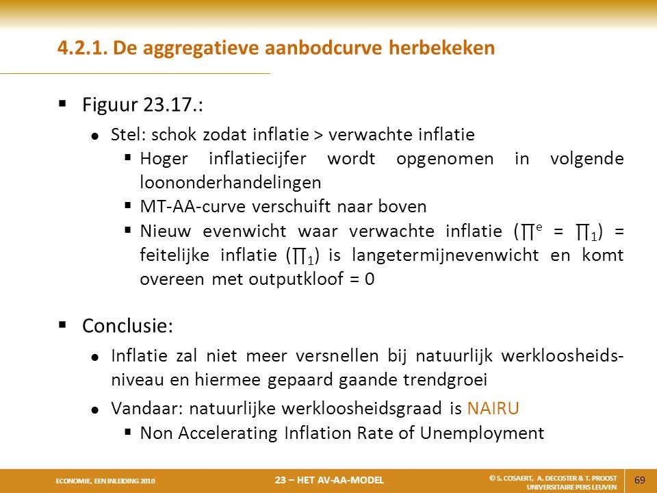69 ECONOMIE, EEN INLEIDING 2010 23 – HET AV-AA-MODEL © S. COSAERT, A. DECOSTER & T. PROOST UNIVERSITAIRE PERS LEUVEN 4.2.1. De aggregatieve aanbodcurv