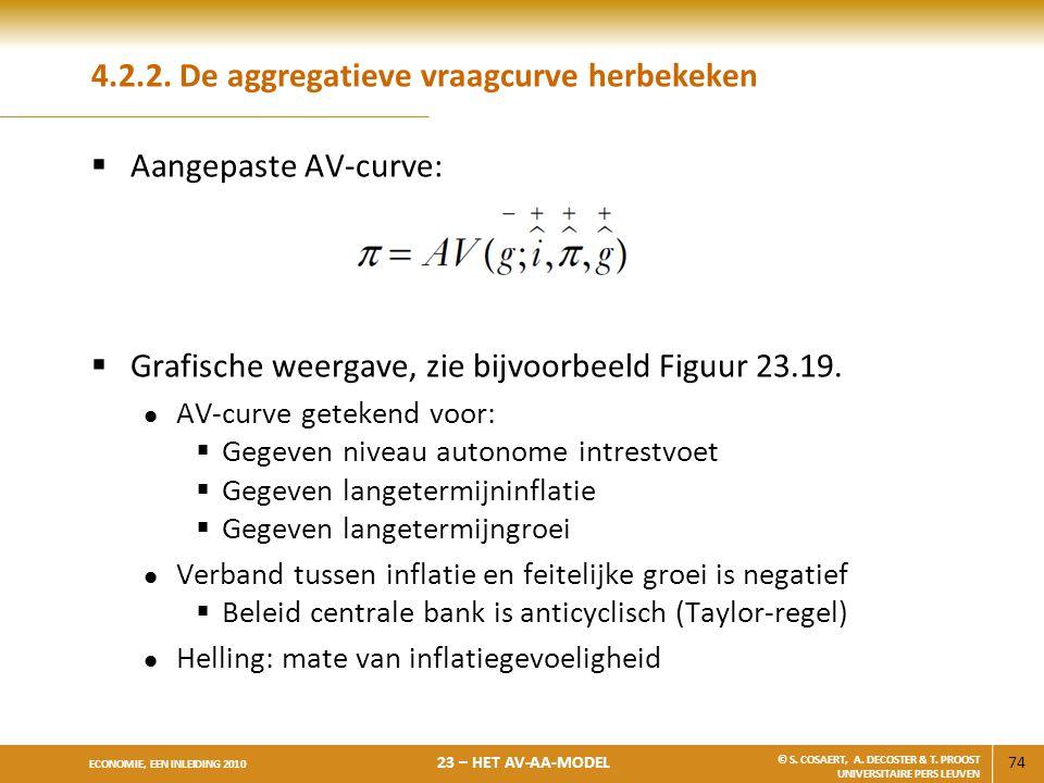 74 ECONOMIE, EEN INLEIDING 2010 23 – HET AV-AA-MODEL © S. COSAERT, A. DECOSTER & T. PROOST UNIVERSITAIRE PERS LEUVEN 4.2.2. De aggregatieve vraagcurve
