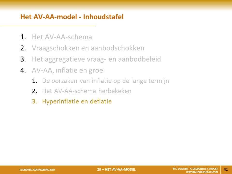 82 ECONOMIE, EEN INLEIDING 2010 23 – HET AV-AA-MODEL © S. COSAERT, A. DECOSTER & T. PROOST UNIVERSITAIRE PERS LEUVEN Het AV-AA-model - Inhoudstafel 1.