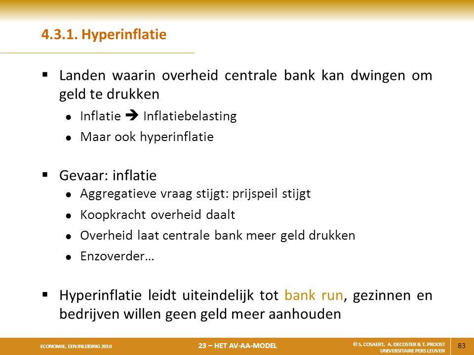 83 ECONOMIE, EEN INLEIDING 2010 23 – HET AV-AA-MODEL © S. COSAERT, A. DECOSTER & T. PROOST UNIVERSITAIRE PERS LEUVEN 4.3.1. Hyperinflatie  Landen waa