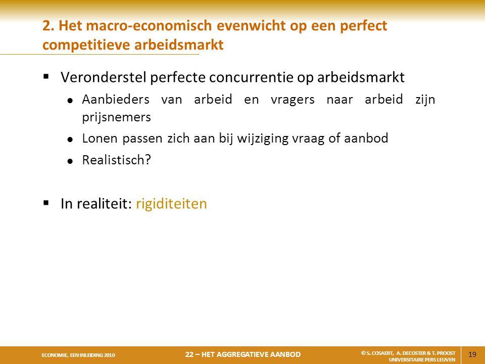 19 ECONOMIE, EEN INLEIDING 2010 22 – HET AGGREGATIEVE AANBOD © S. COSAERT, A. DECOSTER & T. PROOST UNIVERSITAIRE PERS LEUVEN 2. Het macro-economisch e