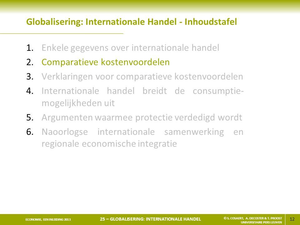 12 ECONOMIE, EEN INLEIDING 2013 25 – GLOBALISERING: INTERNATIONALE HANDEL © S. COSAERT, A. DECOSTER & T. PROOST UNIVERSITAIRE PERS LEUVEN Globaliserin