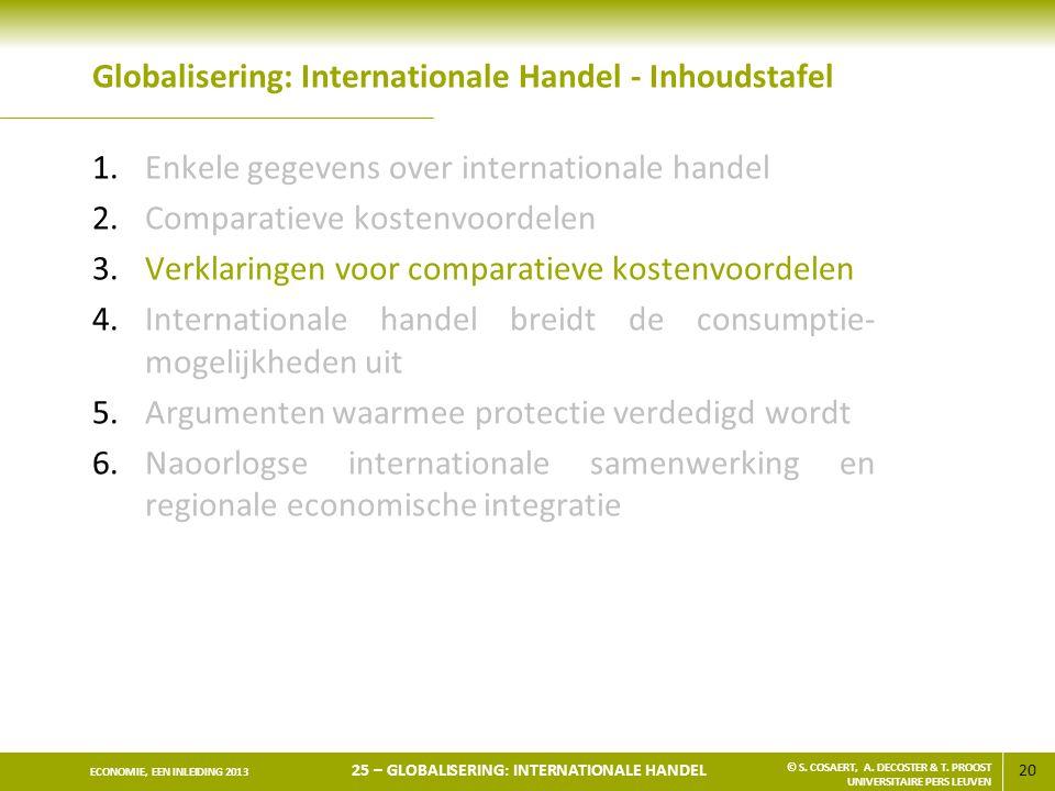 20 ECONOMIE, EEN INLEIDING 2013 25 – GLOBALISERING: INTERNATIONALE HANDEL © S. COSAERT, A. DECOSTER & T. PROOST UNIVERSITAIRE PERS LEUVEN Globaliserin