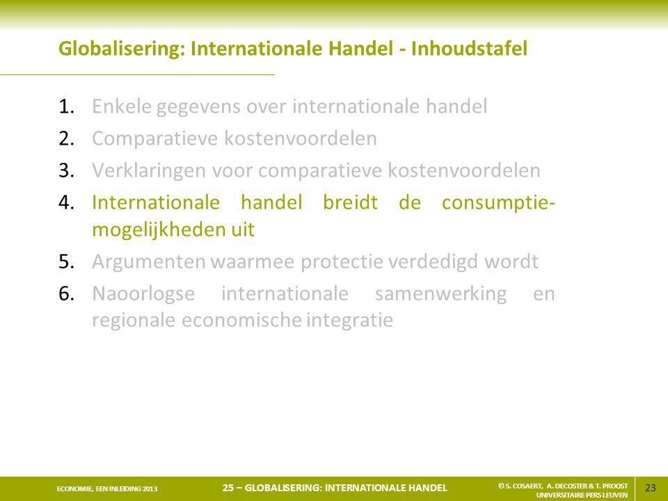 23 ECONOMIE, EEN INLEIDING 2013 25 – GLOBALISERING: INTERNATIONALE HANDEL © S. COSAERT, A. DECOSTER & T. PROOST UNIVERSITAIRE PERS LEUVEN Globaliserin