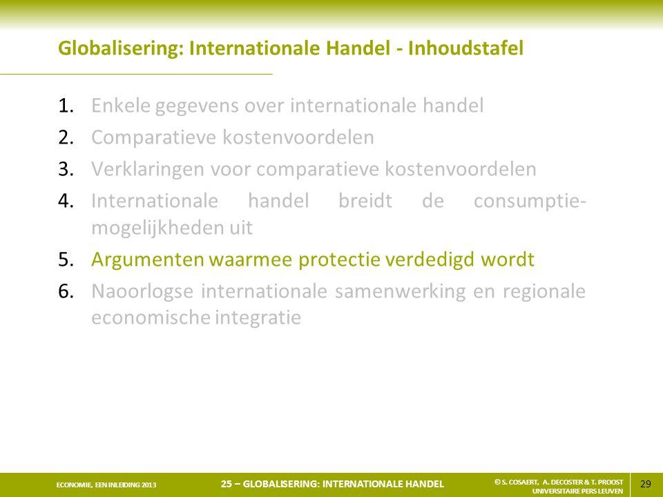 29 ECONOMIE, EEN INLEIDING 2013 25 – GLOBALISERING: INTERNATIONALE HANDEL © S. COSAERT, A. DECOSTER & T. PROOST UNIVERSITAIRE PERS LEUVEN Globaliserin