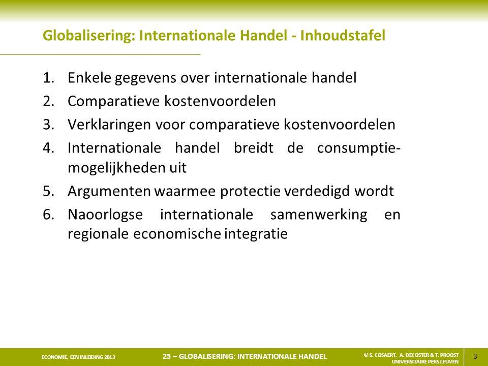3 ECONOMIE, EEN INLEIDING 2013 25 – GLOBALISERING: INTERNATIONALE HANDEL © S. COSAERT, A. DECOSTER & T. PROOST UNIVERSITAIRE PERS LEUVEN Globalisering