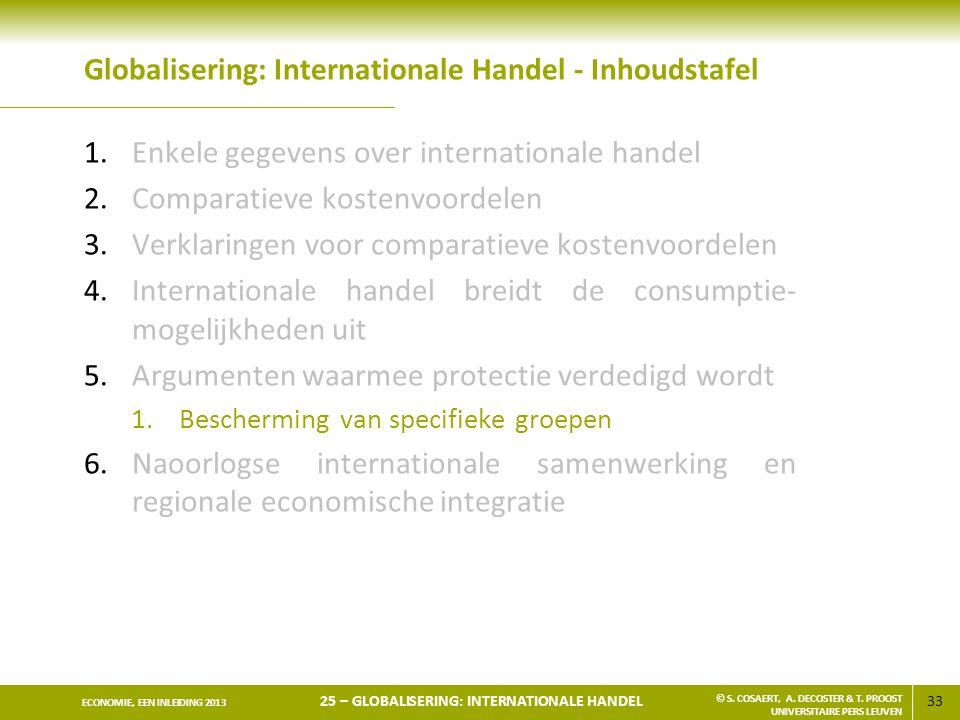 33 ECONOMIE, EEN INLEIDING 2013 25 – GLOBALISERING: INTERNATIONALE HANDEL © S. COSAERT, A. DECOSTER & T. PROOST UNIVERSITAIRE PERS LEUVEN Globaliserin