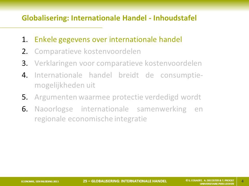 4 ECONOMIE, EEN INLEIDING 2013 25 – GLOBALISERING: INTERNATIONALE HANDEL © S. COSAERT, A. DECOSTER & T. PROOST UNIVERSITAIRE PERS LEUVEN Globalisering